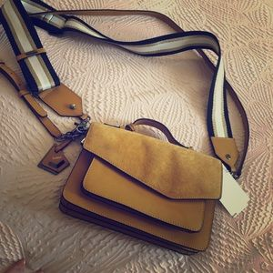 Botkier mustard suede and leather bag